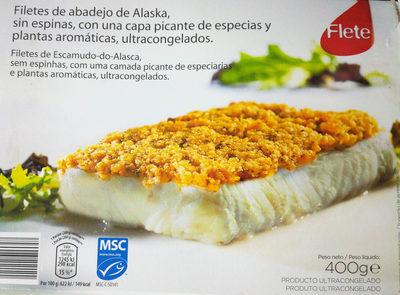 Filetes de abadejo de Alaska, sin espinas, con una capa picante de especias y plantas aromáticas, ultracongelados - Producto