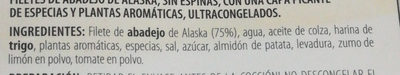 Filetes de abadejo de Alaska, sin espinas, con una capa picante de especias y plantas aromáticas, ultracongelados - Ingredientes