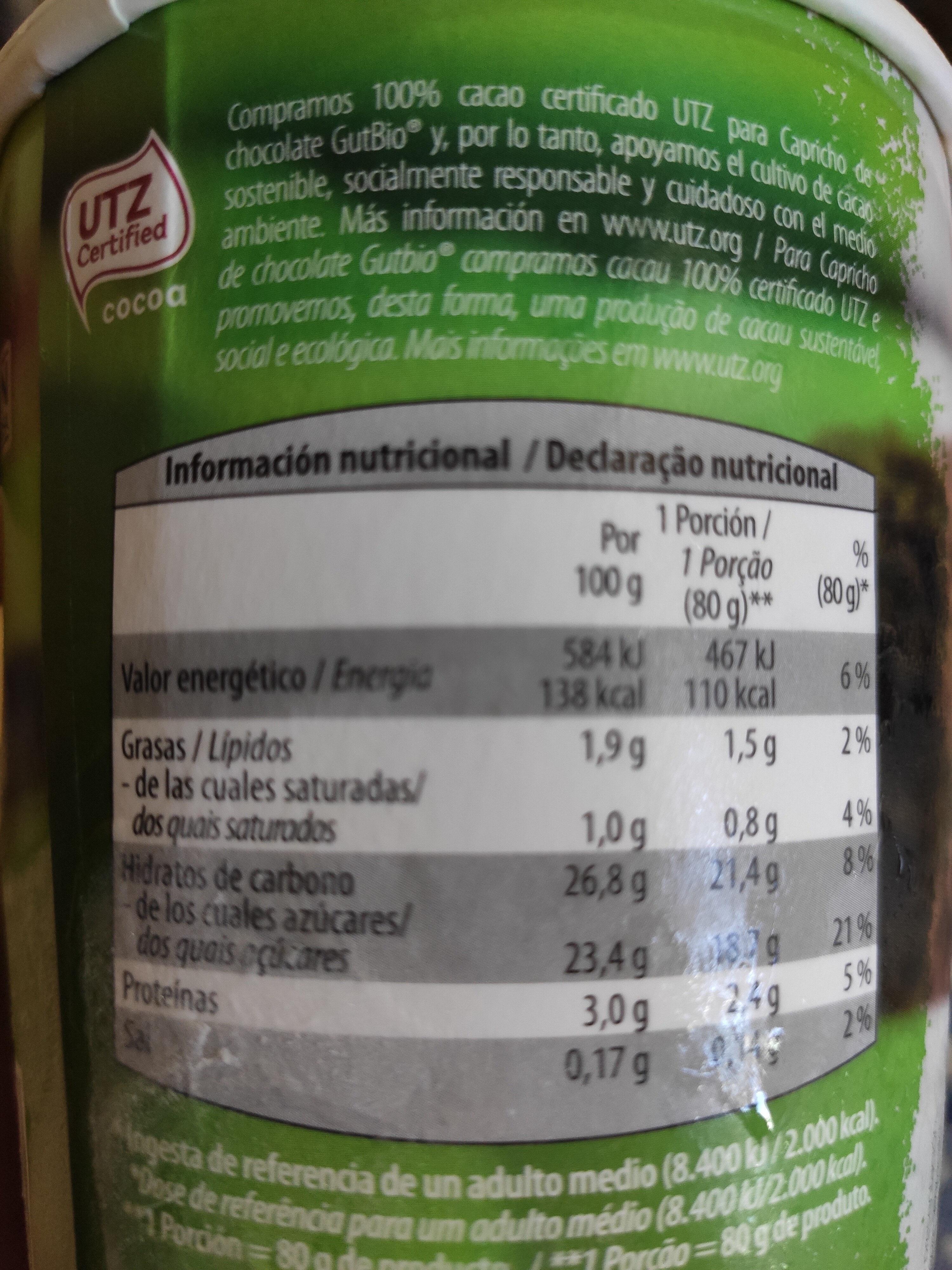 Capricho de chocolate - Informations nutritionnelles