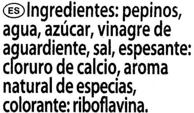 Pepinos Agridulces en Rodajas - Ingredients - es