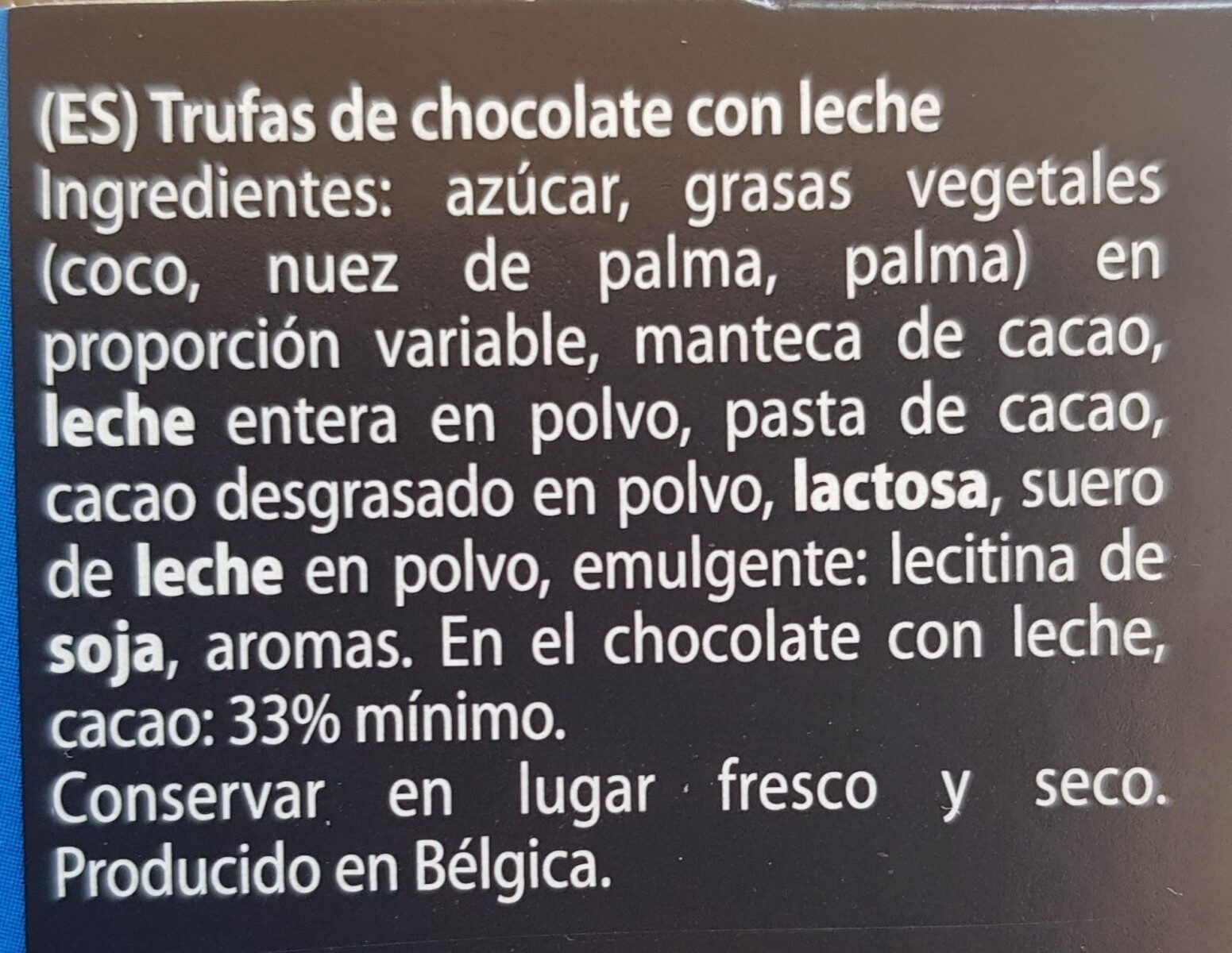 Trufas chocolate con leche - Ingredients
