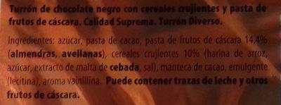 Turrón crujiente negro - Ingredients - es