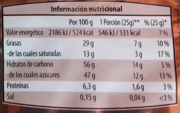 Turrón crujiente negro - Nutrition facts - es
