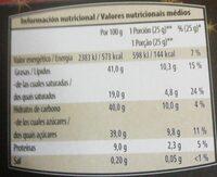 Turrón chocolate con almendras - Información nutricional - es