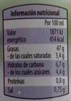 Veganesa - Informació nutricional - es