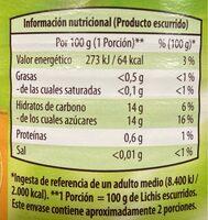 Lichis en almíbar ligero - Información nutricional - es