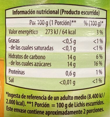 Lichis en almíbar ligero - Informations nutritionnelles - es