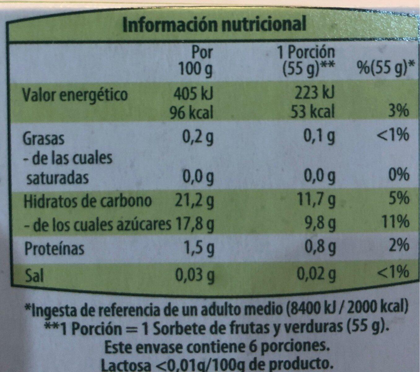 Sorbete de fruta y verdura ecológico - Información nutricional - es