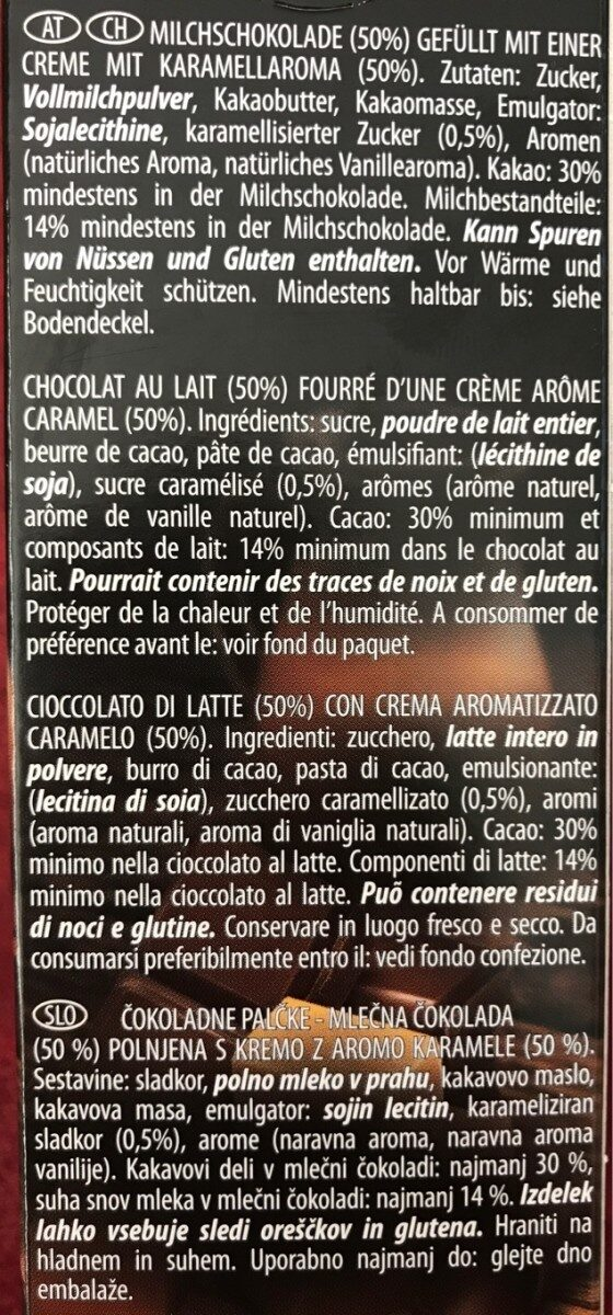 Deluxe chocolat sticks caramel - Ingrédients - hu