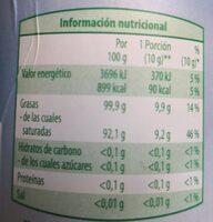 Aceite de coco virgen biológico - Nutrition facts - es