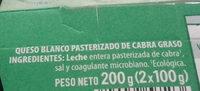 Queso Blanco Pasteurizado de Cabra - Ingredientes
