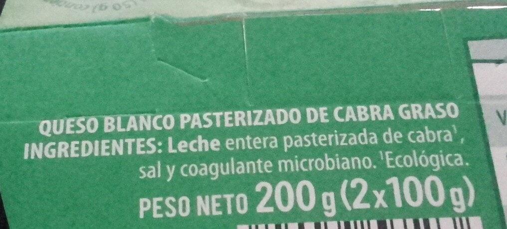Queso Blanco Pasteurizado de Cabra - Ingredients