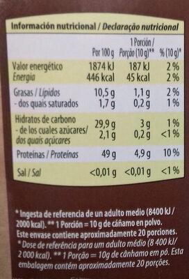 Cáñamo en polvo bio - Informació nutricional