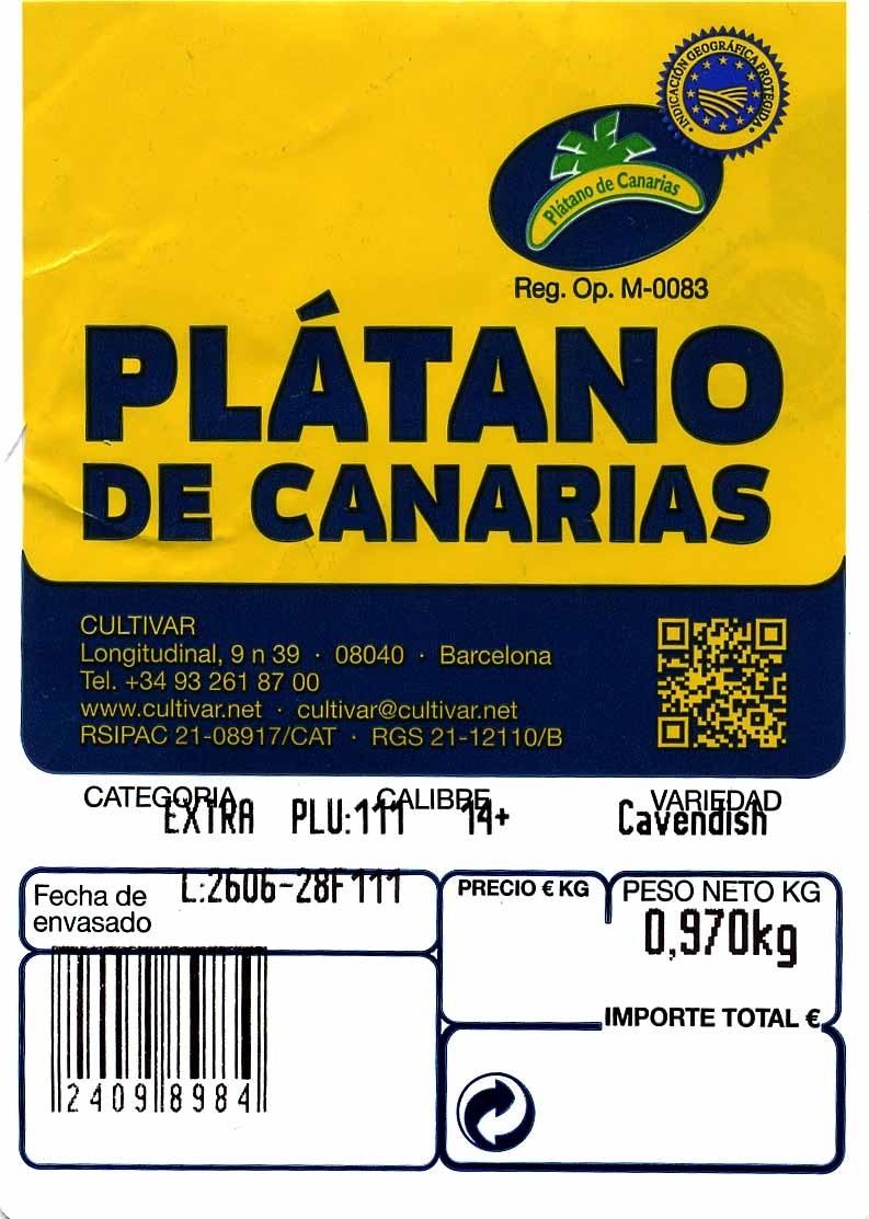 Plátano de Canarias I.G.P - Ingrédients