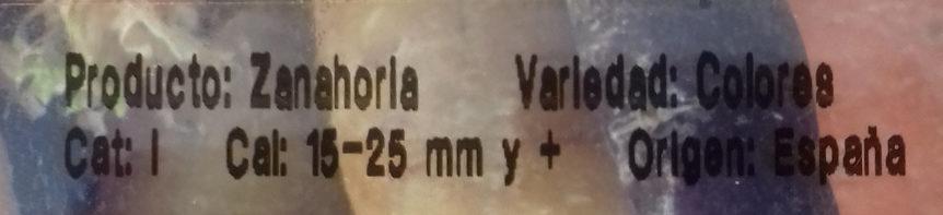 Zanahoria tricolor - Ingredients
