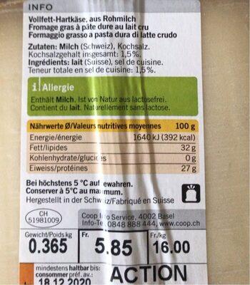 Formaggio Gruyere - Informazioni nutrizionali - fr