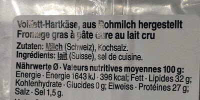 Gruyère surchoix - Nutrition facts