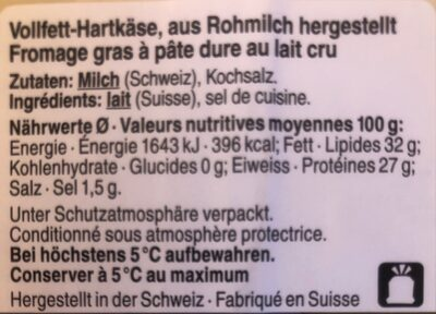 Gruyère - Nutrition facts