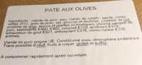 Pate aux olives - Ingredients - fr