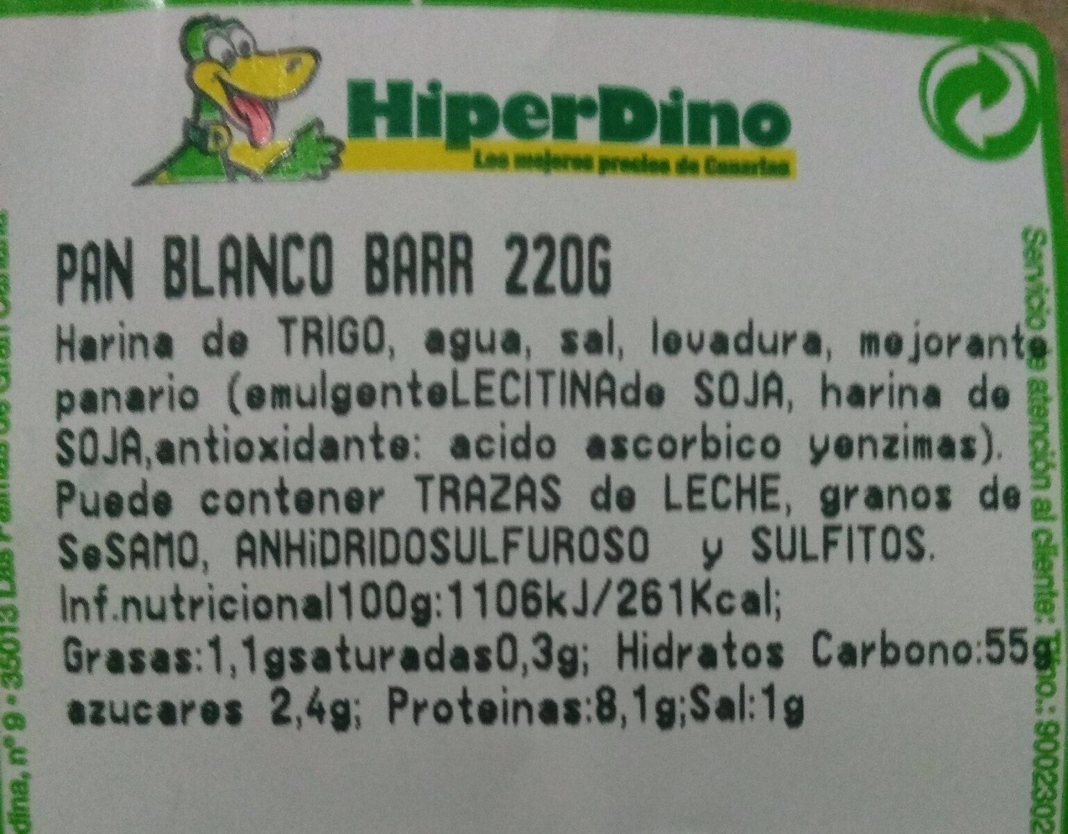 Pan blanco Barr 220G - Informations nutritionnelles - es