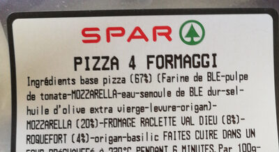 pizza 4 fromaggi - Ingrediënten - fr
