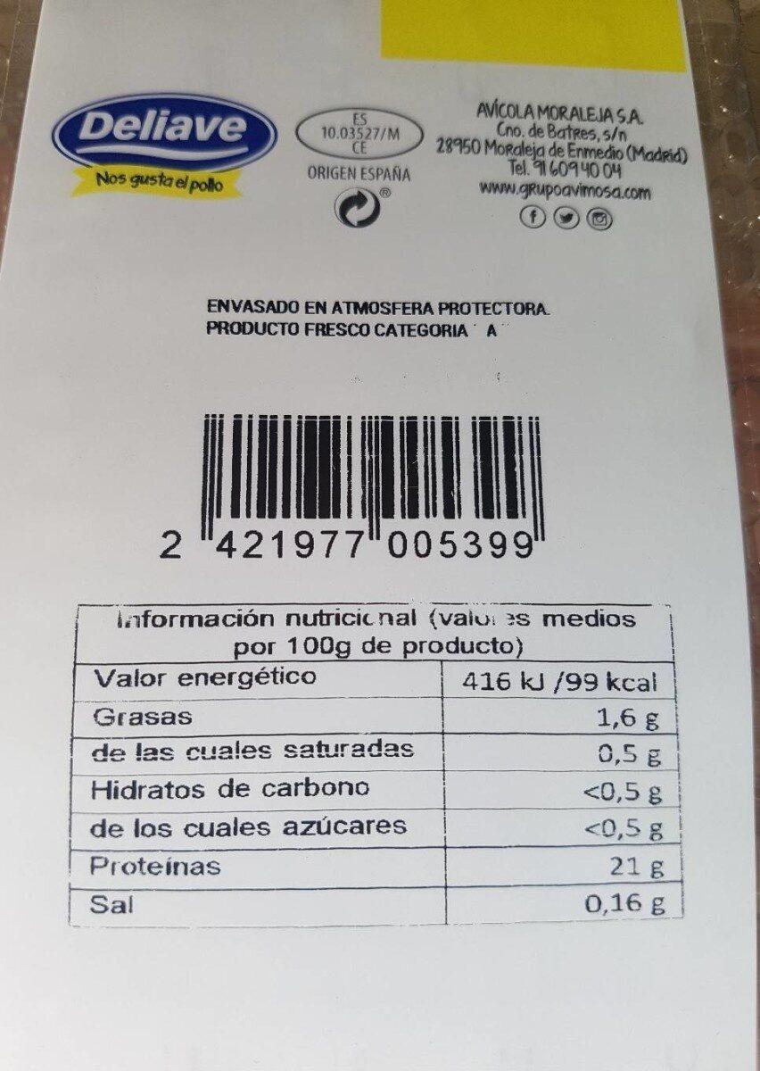 Pechuga de pollo fileteada - Información nutricional - es
