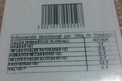Pollo pechugas fileteadas - Valori nutrizionali - es