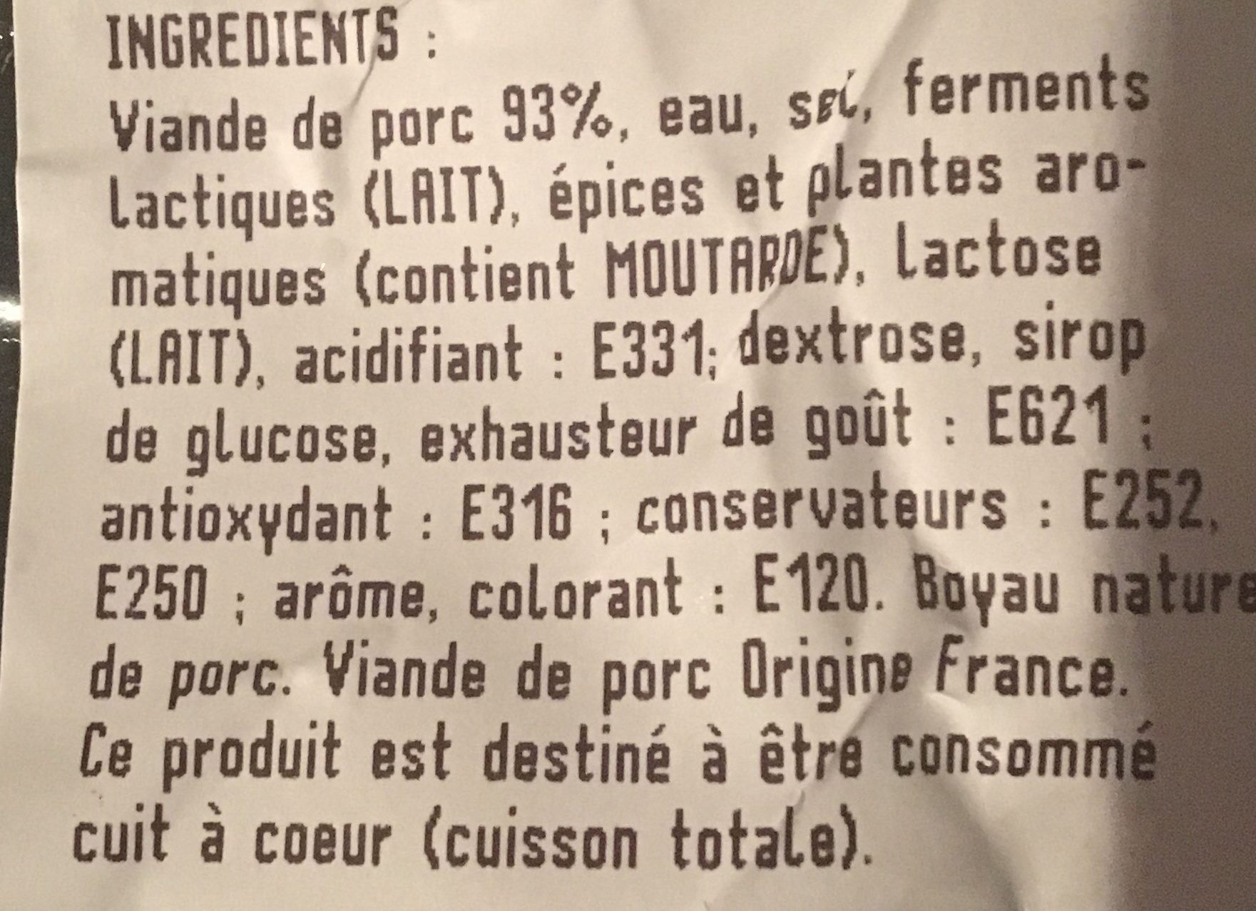 Saucisse fumee - Ingredients
