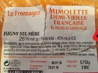 Mimolette demi-vieille française - Ingrédients - fr