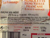 Mimolette demi-vieille française - Informations nutritionnelles - fr