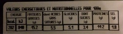 Boudin antillais artisanal - Voedingswaarden - fr