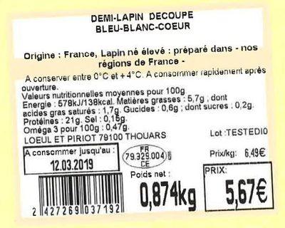 Demi-lapin découpé Bleu-Blanc-Cœur - Ingredients