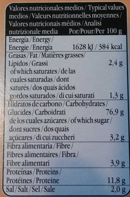Recondo - Información nutricional