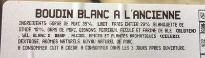 Boudin blanc à l'ancienne - Ingrédients - fr