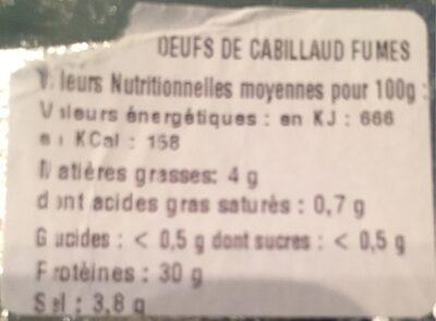 Oeufs de cabillaud fumés - Nutrition facts - fr