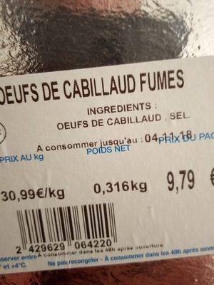 Oeufs de cabillaud fumes - Ingredients - fr
