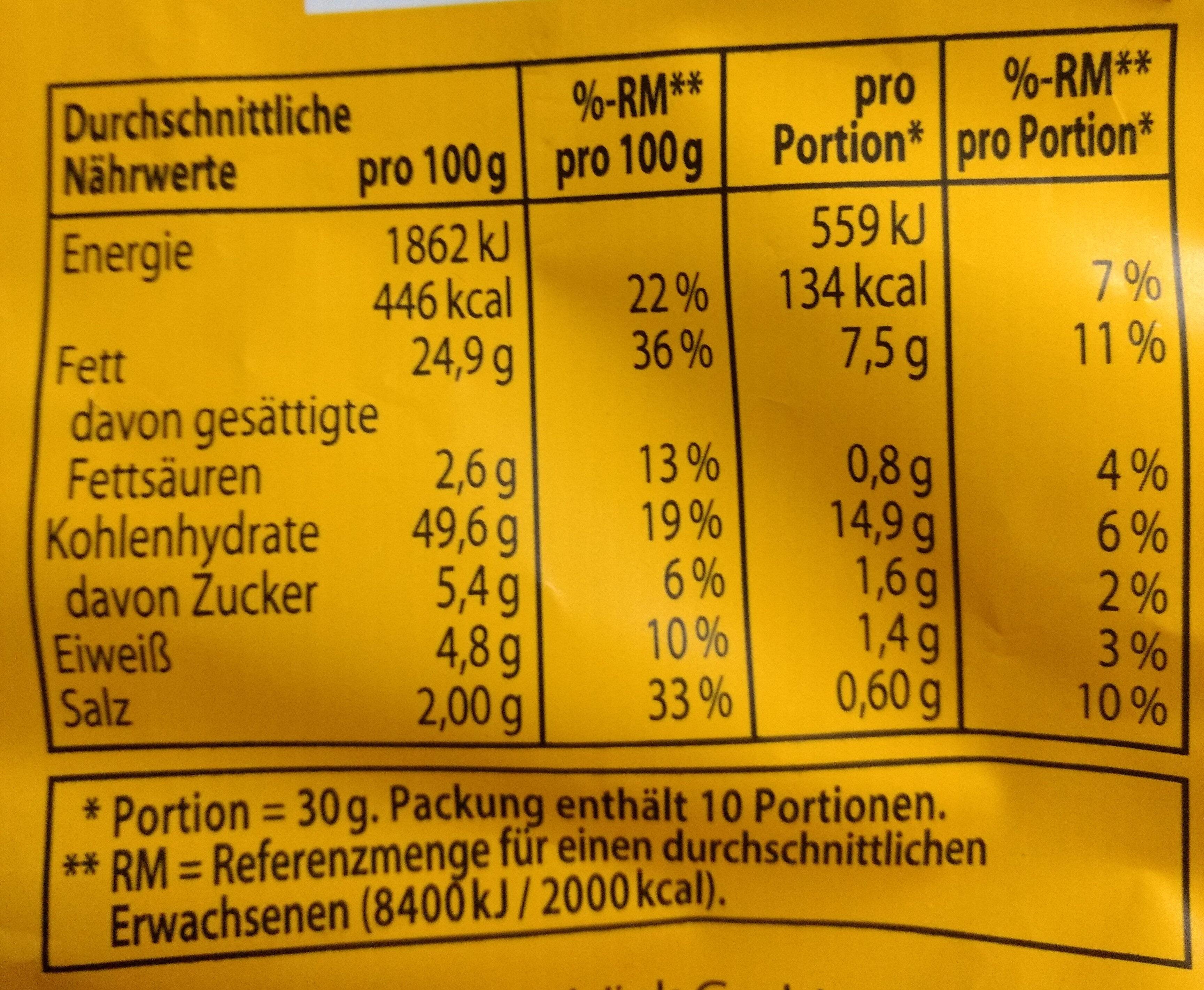 Tortillas Nacho Cheese - Nutrition facts - de