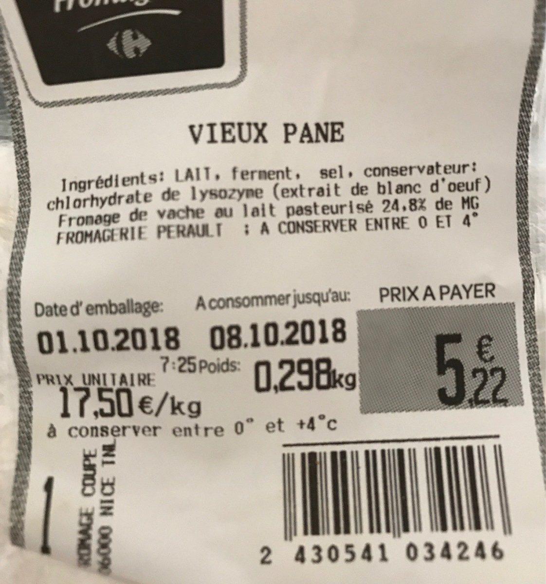 Vieux Pane - Ingrédients - fr