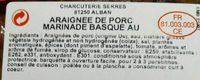 Araignée de porc marinade basque au piment d'Espelette - Ingrediënten - fr