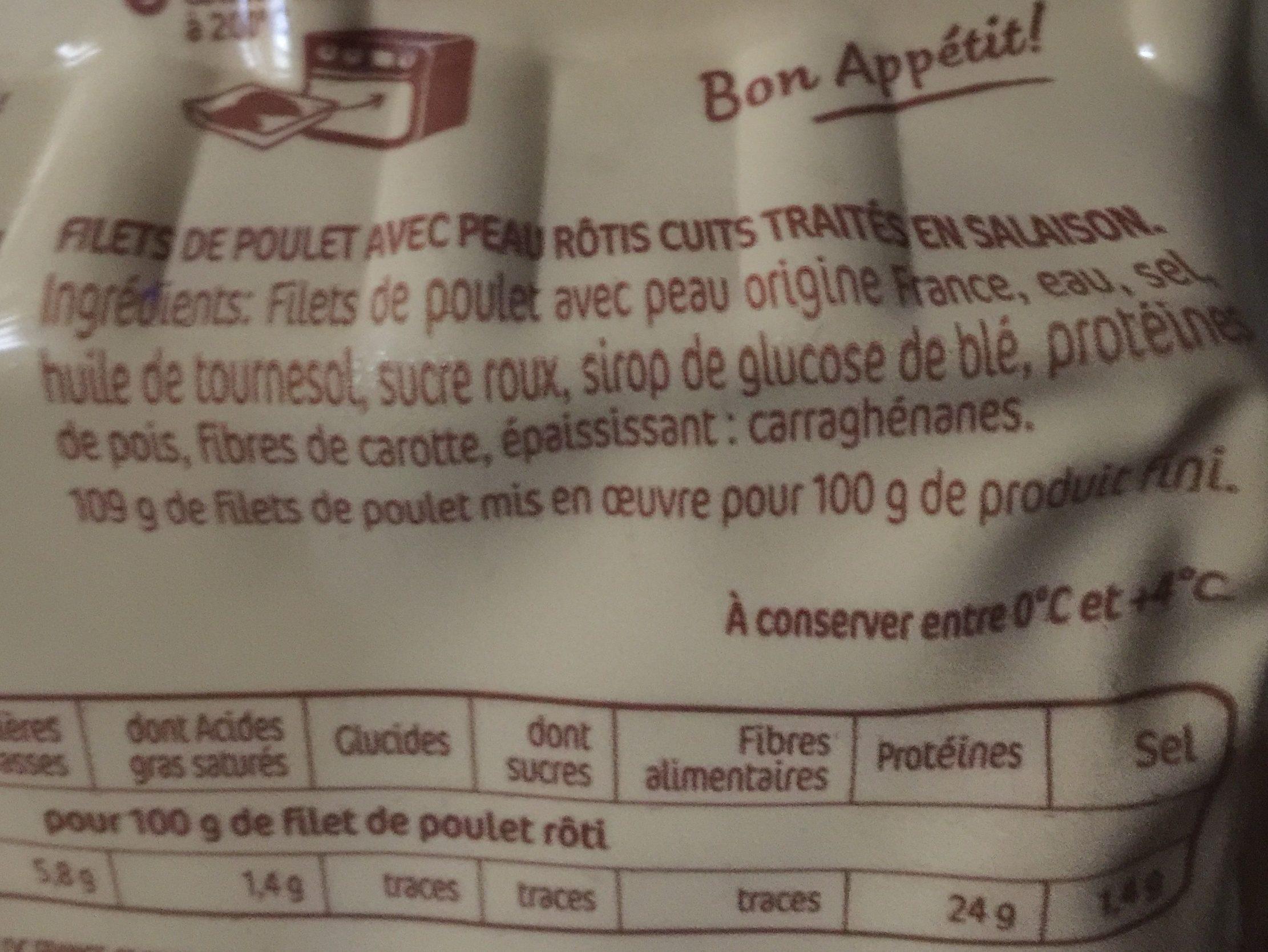 Filets de poulet rôti chaud ou froid - Ingrediënten - fr