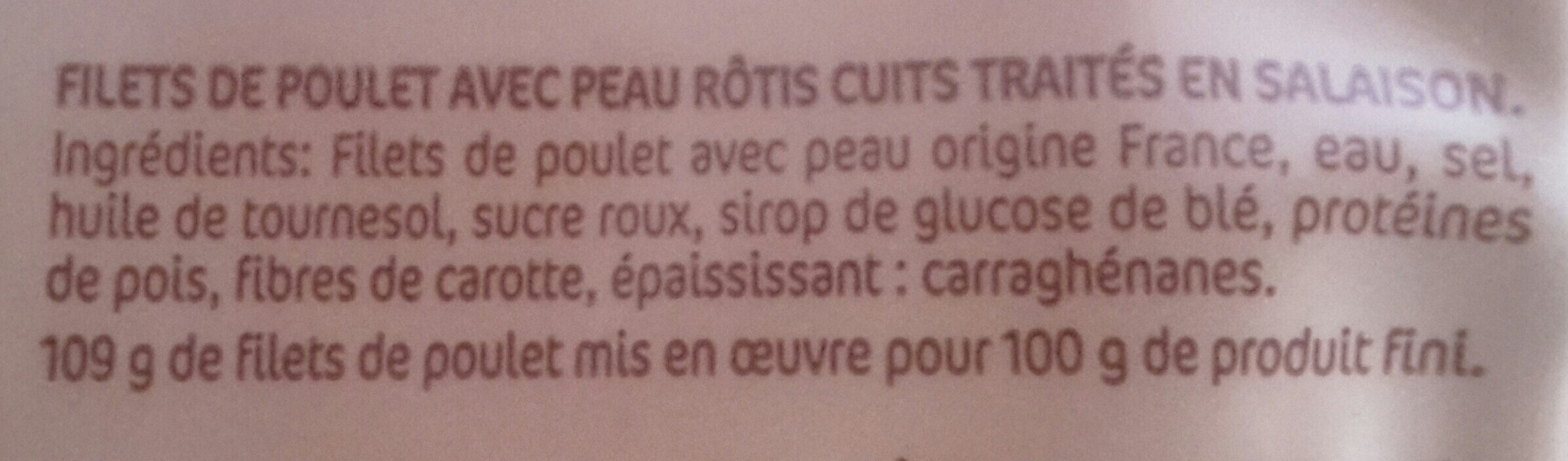 Filet de poulet roti - Ingrédients