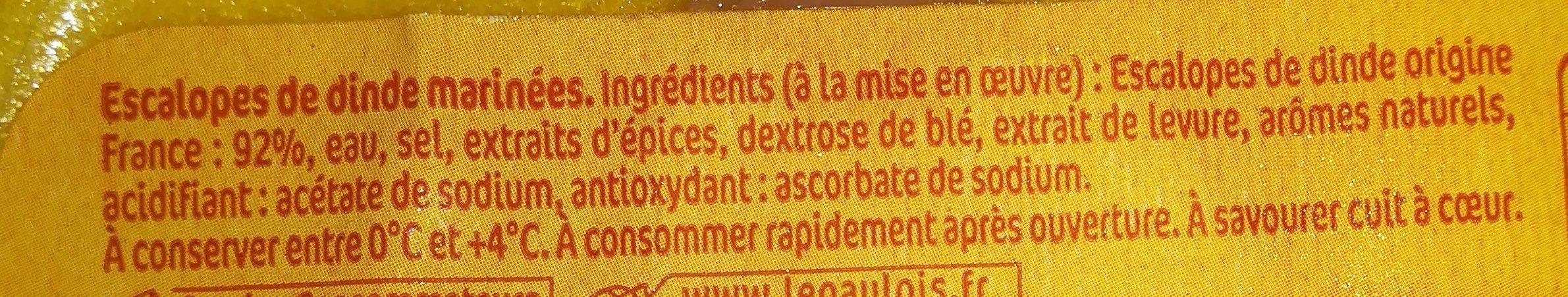 Escalope de dinde - Ingrediënten