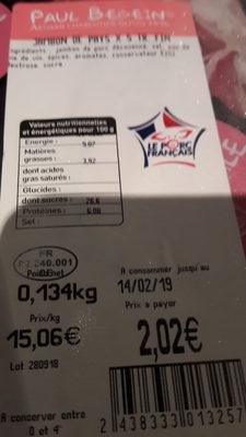 jambon de pays  x 5 tr.fin - Product