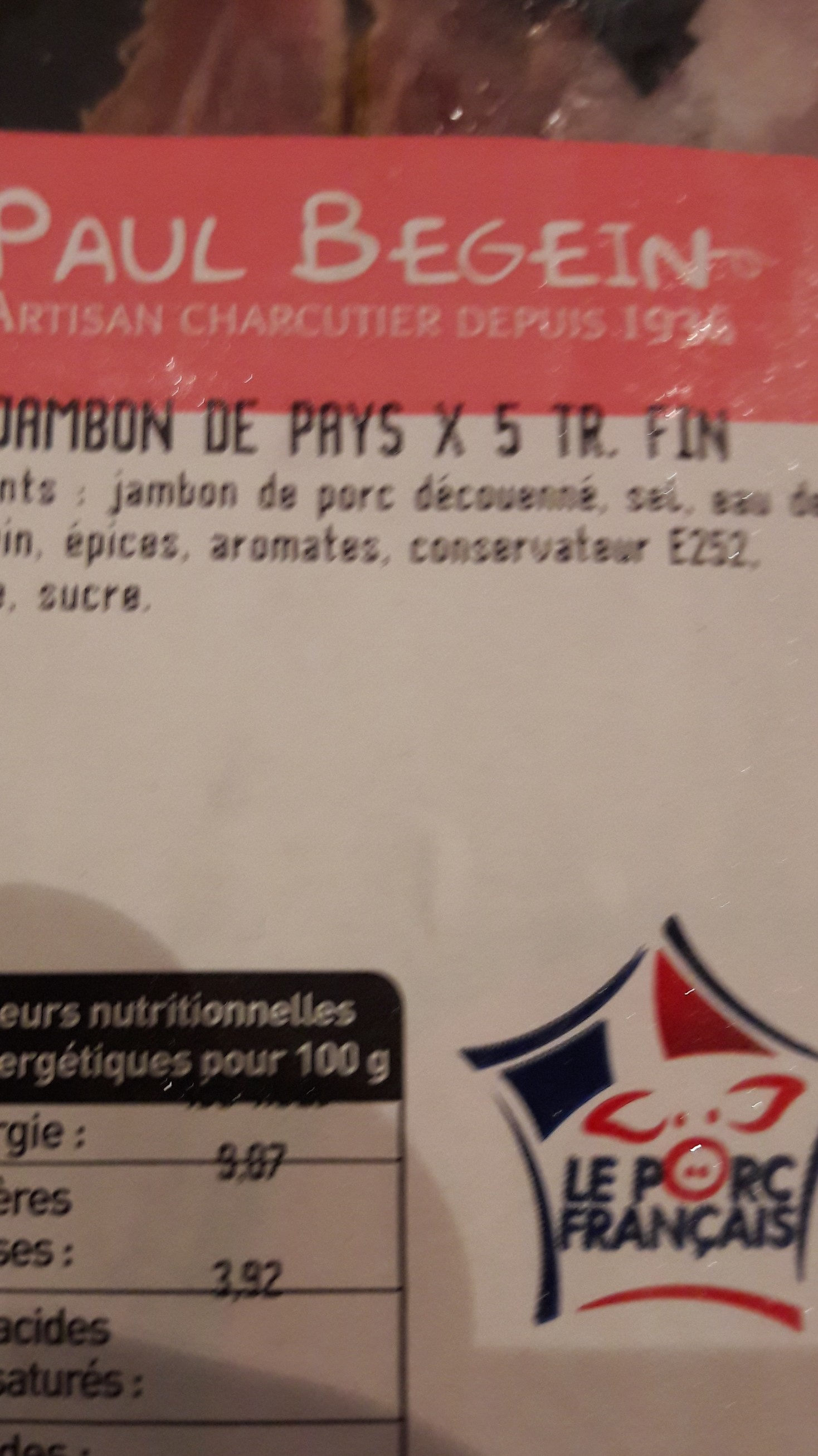 jambon de pays  x 5 tr.fin - Ingredients