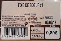 Foie de bœuf - Ingredients
