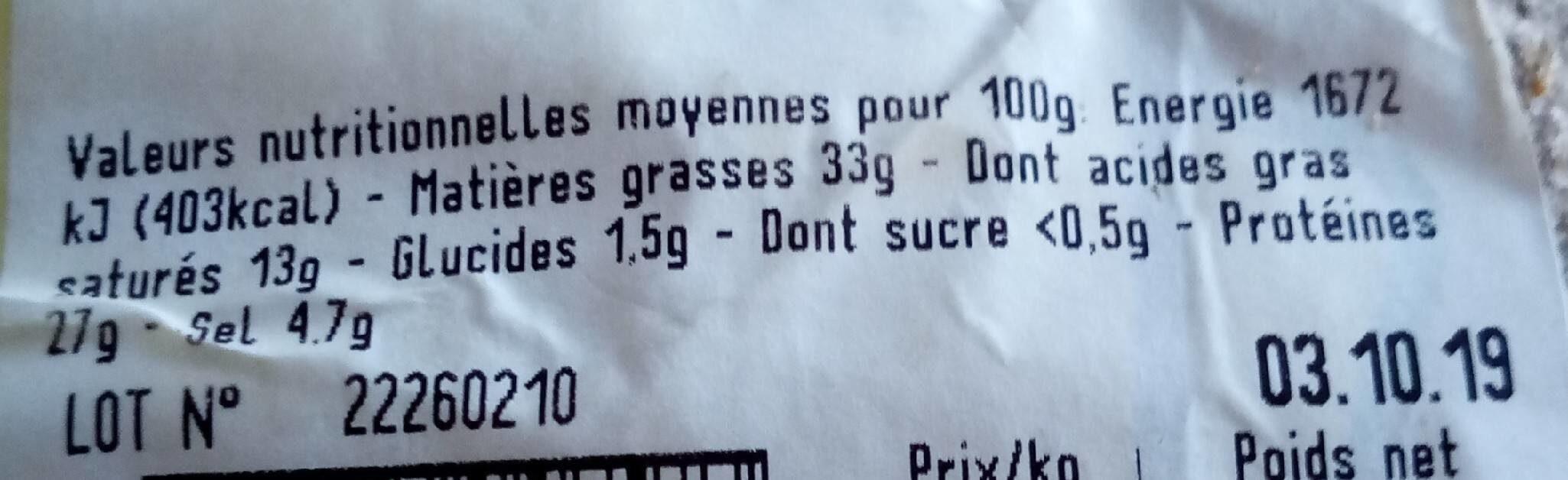 Saucisson d'Ardèche Debroas - Nährwertangaben - fr