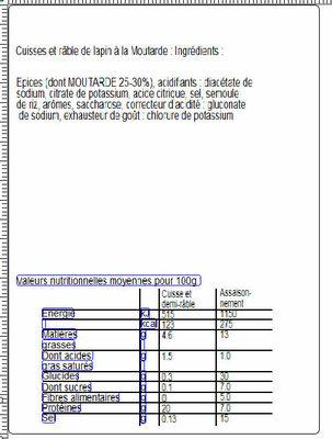 2 Cuisses et 2 demi-râbles de lapin + 2 sachets d'assaisonnement moutarde + 1 sachet cuisson - Nutrition facts