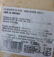 Tomme de montagne - Valori nutrizionali - fr