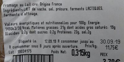 Tomme de montagne au lait cru - Valori nutrizionali - fr
