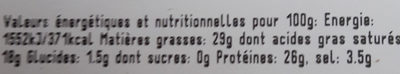 Provolone piquant - Nutrition facts - fr